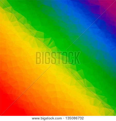 Rainbow colorful abstract geometrical background with triangular shapes. Vector illustration in LGBT colors. Symbol of peace gay culture. Pride Month low poly style template.