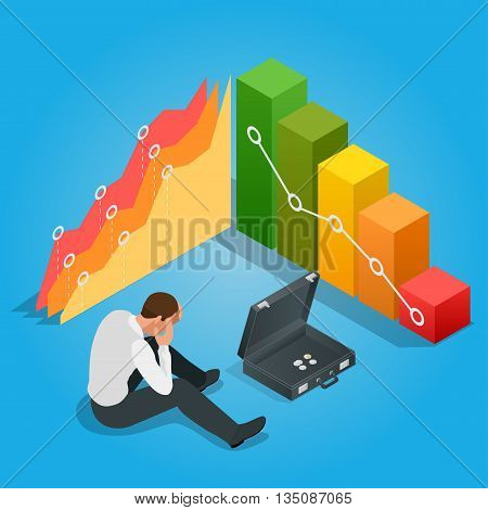 Depressed Businessman Leaning His Head Below a Bad Stock Market Chart. Flat 3d vector isometric illustration.