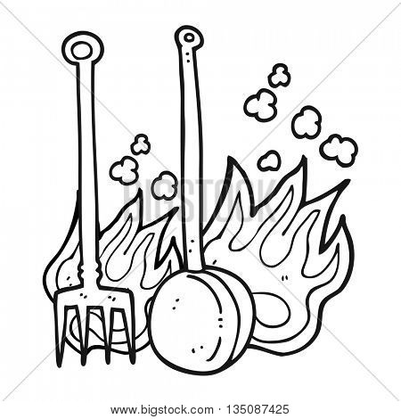 freehand drawn black and white cartoon hot fireside tools