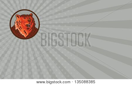 Business card showing illustration of a Russian bear or Eurasian brown bear head growling viewed from front set inside circle done in retro style.