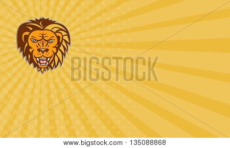 Business card showing illustration of an angry lion big cat head growling showing teeth fangs viewed from front set on isolated white background done in retro style.