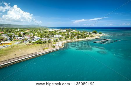 Aerial view on Falmouth port in Jamaica