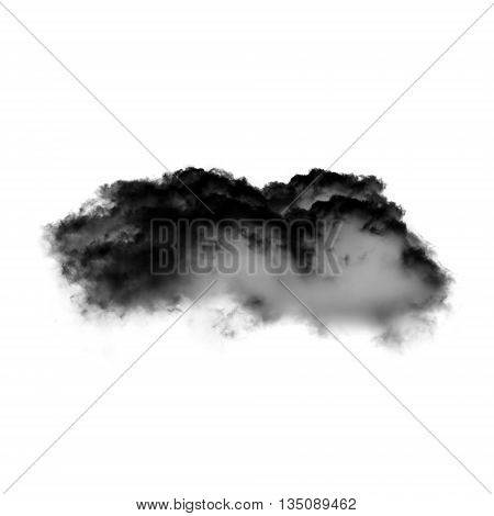 Black cloud isolated over white background black inkblot or smoke