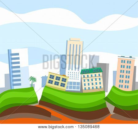Due to the tectonic fault, the city began an earthquake. City house leaned to one side. A natural disaster, an earthquake. Colored, flat picture, vector.