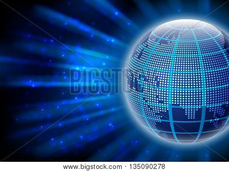 Illustration of abstract world globe with rays of light and glow background