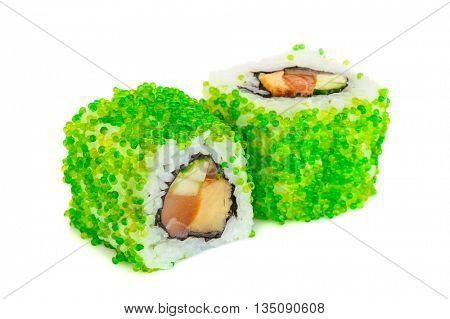 Uramaki maki sushi, two rolls isolated on white. Green tobiko, philadelphia cheese, avocado, eel, salmon and nori