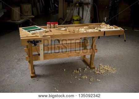 Carpenter's bench / desk with tool in workroom