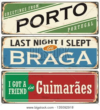 Vintage vector souvenir sign or postcard templates with Portugal cities. Places to visit and remember.