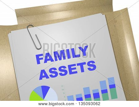 "3D illustration of ""FAMILY ASSETS"" title on business document. Business concept. poster"