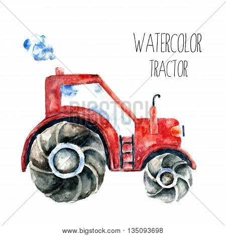 Organic farming eco tractor. Watercolor red tractor.vector