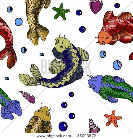 Catfish fish image. Hand drawn vector stock illustration. Seamless background pattern
