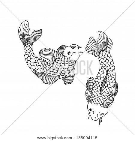Catfish fish image. Hand drawn vector stock illustration. Black and white whiteboard drawing