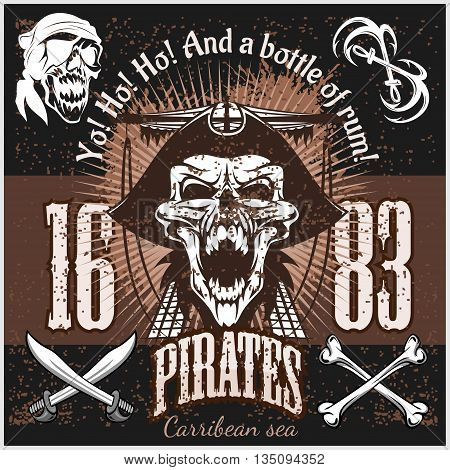 Vintage Pirate Labels or Design Elements With Retro Textures on dark background.