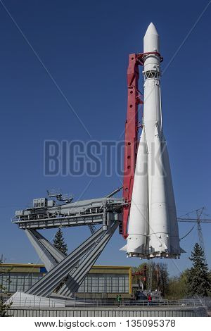 Space rocket in VDNH park in Moscow Russia