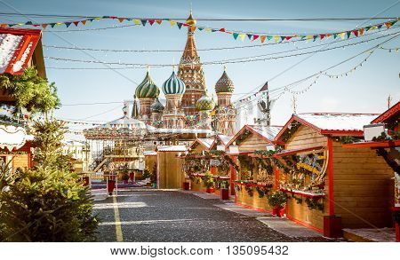 Christmas village fair on Red Square in Moscow Russia