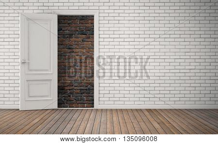 Bricked up door in room. No way out concept. 3D rendering
