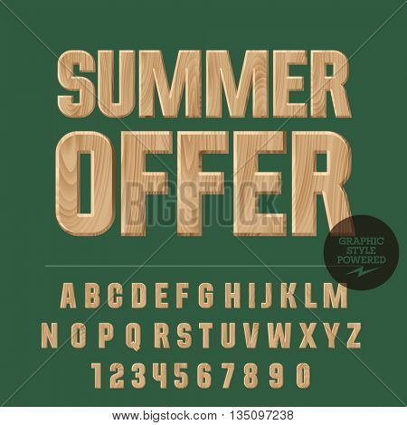 Vector set of alphabet letters, numbers and punctuation symbols. Wood poster with text Summer offer