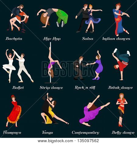 Dancing People, Dancer Bachata, Hiphop, Salsa, Indian, Ballet, Strip, Roch and Roll, Break, Flamenco, Tango, Contemporary, Belly Dance Pictogram Icon Dancing style of design concept set vector illustration set