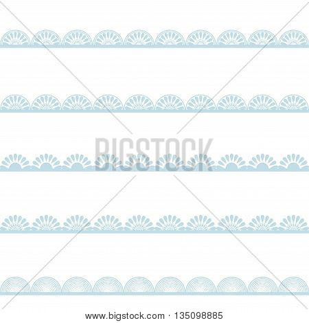 Set of blue lace borders isolated on white background