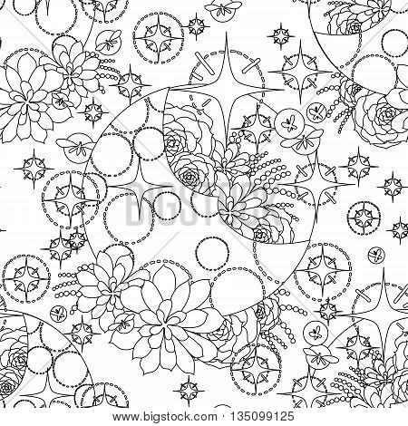 Graphic moon with succulent design among stars and glowing butterflies. Abstract fantasy art. Vector seamless pattern. Coloring book page design for adults and kids