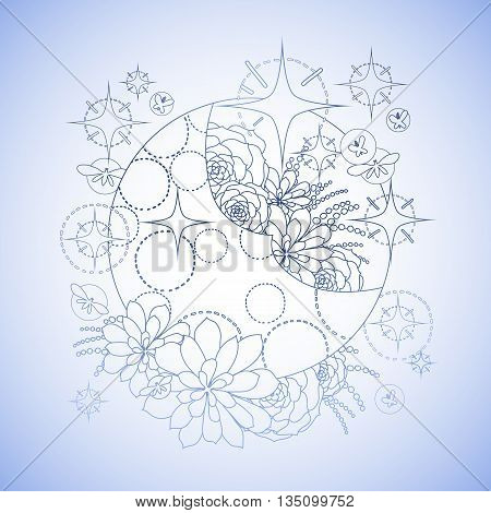 Graphic moon with succulent design among stars and glowing butterflies. Abstract fantasy art. Coloring book page design for adults and kids