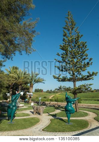LAGOA PORTUGAL - MAY 19 : A view of viticulture Quinta dos Vales near city Lagoa on the coast Algarve. The owner of the viticulture and the builder of these statues is Karl Heinz Stock in one person in Portugal 2016.