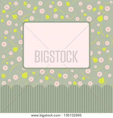 Template with floral decoration. Wedding invitation greeting card design.