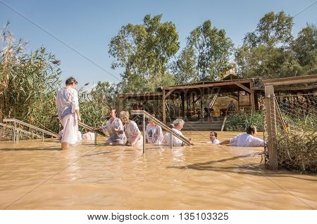 Baptism For Pilgrims In River Of Jordan, The Place Which Is Believed That Jesus Was Baptized