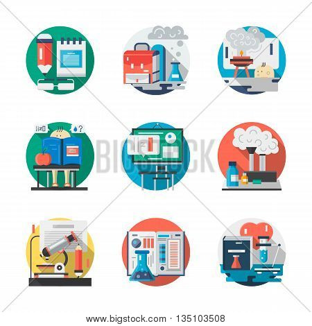 Chemistry lessons, classroom and school laboratory. Education theme. Applied and fundamental sciences. Round detailed flat color vector icons set. Web design elements for business, site, mobile app.