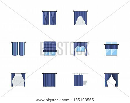 Collection of blue color various window treatments curtains, drapes, shades, blinds. Textile design for home, office, hotel or restaurant interior. Set of flat style vector icons.