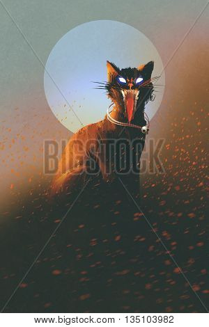evil cat on a background of the moon, undead, horror concept, illustration
