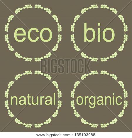 Organic bio eco natural logotypes elements set