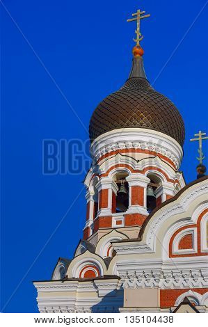 The dome and belfry of Russian Orthodox Alexander Nevsky Cathedral in Old Town Toompea in the evening, Tallinn, Estonia