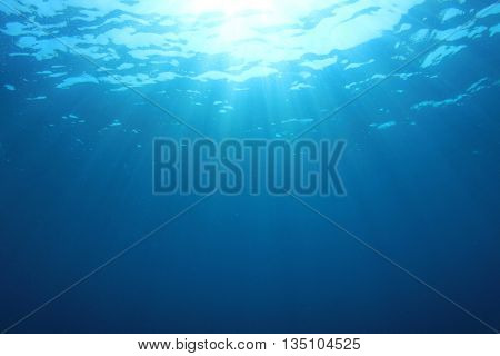 Underwater blue background in ocean