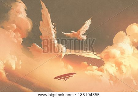 birds shaped cloud in sunset sky, illustation painting
