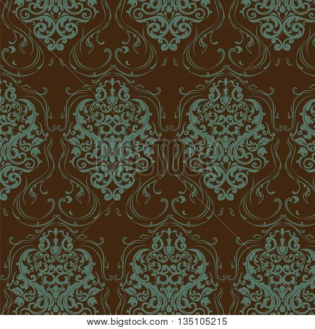 Vintage damask floral ornament pattern in green and brown colors. Vector