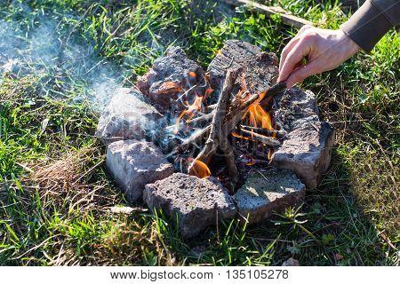Traveler Kindles A Bonfire