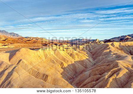 sunset at Zabriskie Point in Death Valley National Park USA