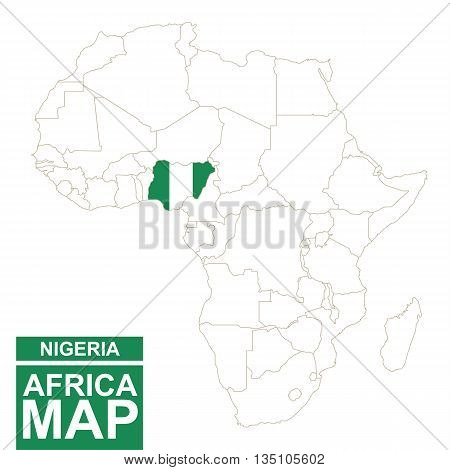 Africa Contoured Map With Highlighted Nigeria.