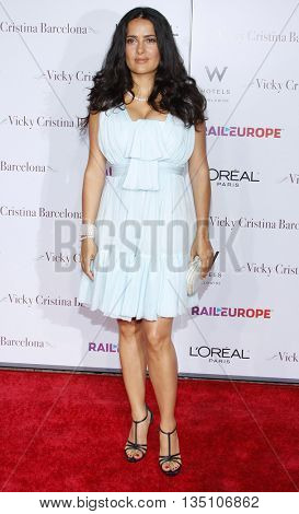 Salma Hayek at the Los Angeles premiere of 'Vicky Cristina Barcelona' held at the Mann Village Theater in Westwood, USA on August 8, 2008.