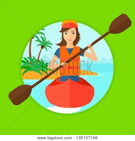 Sports woman riding in a kayak in the sea. Young woman traveling by kayak. Female kayaker paddling. Woman paddling a canoe. Vector flat design illustration in the circle isolated on background.
