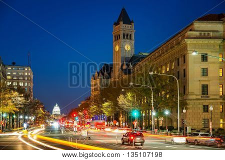 Pennsylvania Avenue, Old post building and Capitol at night, Washington DC, USA