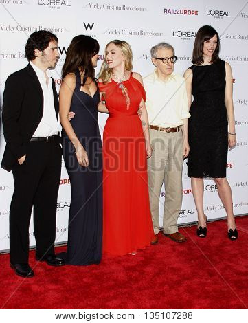 Chris Messina, Penelope Cruz, Scarlett Johansson, Woody Allen and Rebecca Hall at the LA premiere of 'Vicky Cristina Barcelona' held at the Mann Village Theater in Westwood, USA on August 8, 2008.
