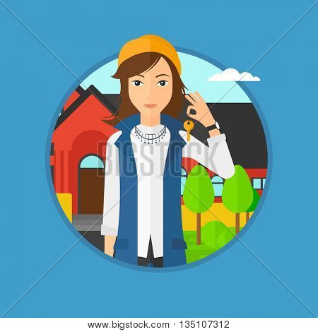 Young female real estate agent holding key. Woman with keys standing in front of the house. Happy new owner of a house. Vector flat design illustration in the circle isolated on background.