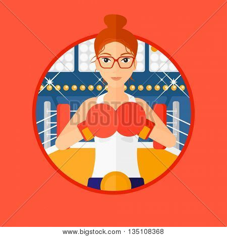 Young sportswoman in boxing gloves. Professional female boxer standing in the boxing ring. Vector flat design illustration in the circle isolated on background.
