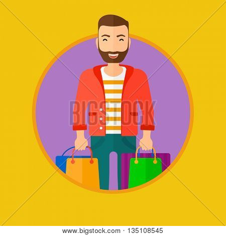 A hipster man with the beard holding shopping bags. Happy young man carrying shopping bags. Man with a lot of shopping bags. Vector flat design illustration in the circle isolated on background.