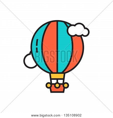 Hot air balloon vector icon. Colored line icon of air balloon flying among clouds