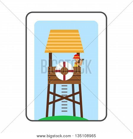Lifeguard tower on beach icon. Colored line icon of lifeguard tower with beach-rescuer watching binoculars