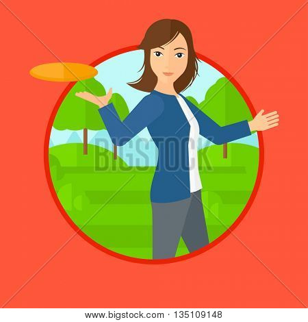 A sportive woman playing flying disc in the park. Young woman throwing a flying disc. Sportswoman catching flying disc outdoors. Vector flat design illustration in the circle isolated on background.