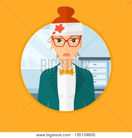 A woman with bandages over his head. Sad woman with a bandaged head in the medical office. Young wounded woman in the hospital. Vector flat design illustration in the circle isolated on background.